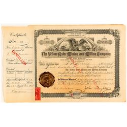 Yellow Aster Mining & Milling Co. Stock Certificate Issued to One of the Founders
