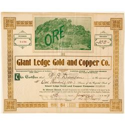 Giant Ledge Gold & Copper Co. Stock Certificate, New York District, CA 1907