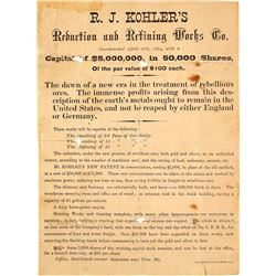 c.1874 Broadside for R. J. Kohler's Ore Reduction and Refining Works Co.
