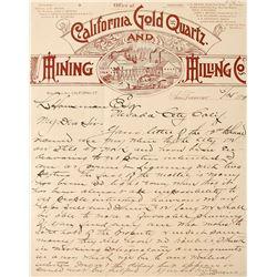California Gold Quartz & Mining Company Letterhead