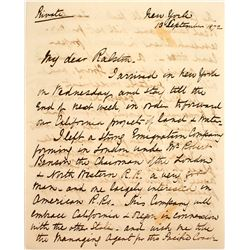 William Ralston Letters: 1872 English Engineer's Letter with Plans for Investments in California Lan