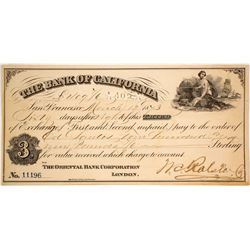 Bank of California 3rd of Exchange Signed by W.C. Ralston, 1873