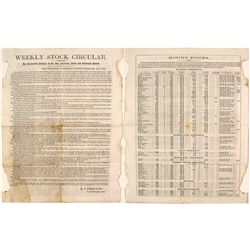 Weekly Stock Circular, San Francisco Stock & Exchange Board, 1864