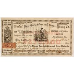 Higgins' Hope Gold, Silver & Copper Mining Co. Stock Certificate, 1863