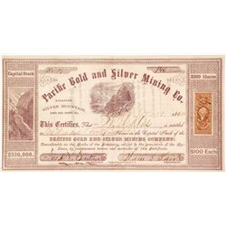Pacific Gold & Silver Mining Co. Stock Certificate, Santa Cruz, 1863