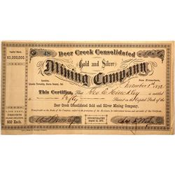 Deer Creek Cons. Gold & Silver Mining Co. Stock Certificate, Lincoln Township, CA, 1872