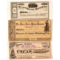 Sierra & Plumas County Mining Stock Certificate Trio