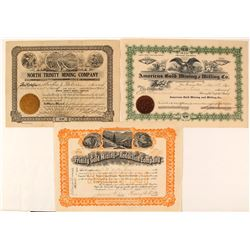 Three Trinity County, California Mining Stock Certificates