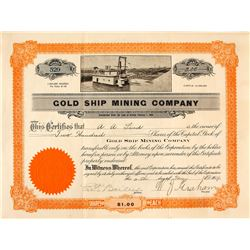 Gold Ship Mining Company Stock Certificate, 1909