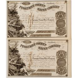 Two Tuolumne County Water Company Stock Certificates