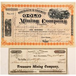 Two Yosemite Mining Stock Certificates