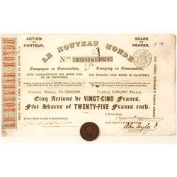 1851 Le Nouveau Monde Stock Certificate, California Gold Rush
