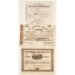 Three Different California Gold Rush Mining Stock Certificates