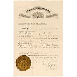 State of California Official Appointment for Board of Trustees, State Mining Bureau