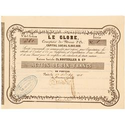 The Globe Mining Company Stock Certificate, 1850, California Gold Rush