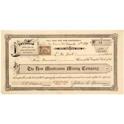 The New Montezuma Mining Company Stock Certificate,