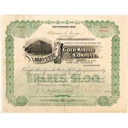 Lafayette Gold Mining Company Stock Certificate, 1896