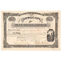The Cornucopia Silver Mining Company Stock Certificate, Mt. Princeton, CO 1882