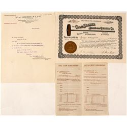 Gold Hammer Mines & Tunnel Company Stock Certificate, Clear Creek, CO 1910