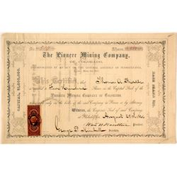 Pioneer Mining Co. of Colorado Stock Certificate, Empire, Colorado Territory 1866