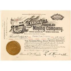 Cannon Ball Gold Mining Co. Stock Certificate, Cripple Creek, CO, 1901