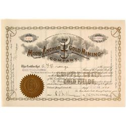 Moon-Anchor Gold Mining Company Stock Certificate, Cripple Creek, CO, 1913
