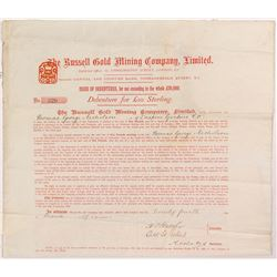 Russell Gold Mining Company Issue of Debenture