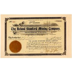 The Leland Stanford Mining Company Stock Certificate, Cripple Creek, 1899