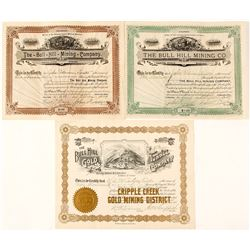 Three Different Bull Hill Mining Stock Certificates, Cripple Creek, CO