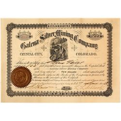 Galena Silver Mining Co. Stock Certificate, Crystal City, CO, 1888