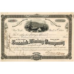 Bassick Mining Company Stock Certificate, Bassick City, CO 1884