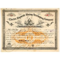 Electro Magnetic Mining & Developing Co. of Denver, Colorado Stock Certificate, 1883