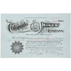 The Colorado Mines Consolidated Co. Stock Certificate, Suckerville, CO 1902