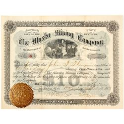 The Alaska Mining Company Stock Certificate, Garfield, CO 1883
