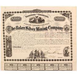 Extra Rare Baker Silver Mining Company Bond
