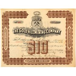 The Gold Hill Mining Co. of Colorado Stock Certificate, Georgetown, 1892