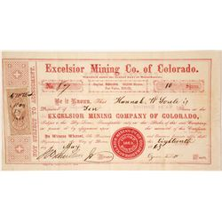 Excelsior Mining Co. of Colorado Stock Certificate, Gilpin County, CO 1863