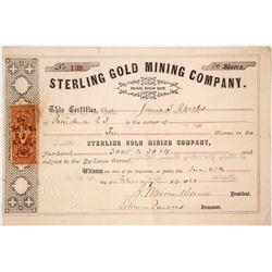 Sterling Gold Mining Company Stock Certificate, Gilpin County, CO 1866