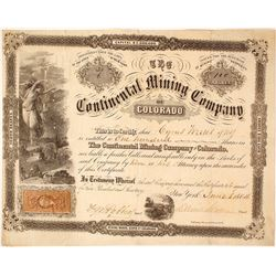 The Continental Mining Co. of Colorado Stock Certificate, 1864, Goddess of Gold Vignette