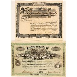 Two Different Empress Mining Co. Stock Certificates, Central City/Black Hawk, 1879 & 1896