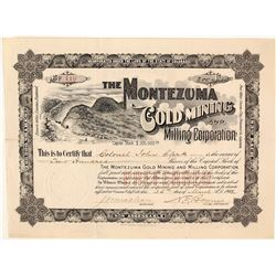 Montezuma Gold Mining & Milling Corporation Stock Certificate, Barnes City, CO, 1902