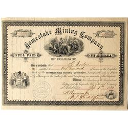 Homestake Mining Company of Colorado Stock Certificate, 1881