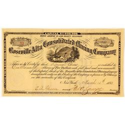 Roseville Alta Consolidated Mining Co. Stock Certificate, Lake County, CO, 1881
