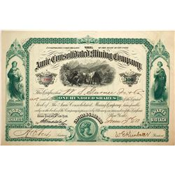 Amie Consolidated Mining Co. Stock Certificate, Leadville, Colorado, 1880