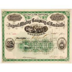 Argent Mining Co. of Leadville, Colorado Stock Certificate 1881