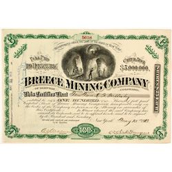 Breece Mining Co. of Leadville, Colorado, Stock Certificate, 1913
