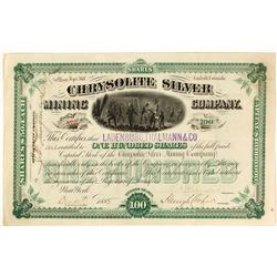 Chrysolite Silver Mining Co. Stock Certificate, Leadville, CO, 1885