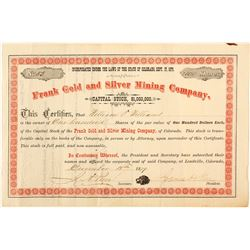 Frank Gold & Silver Mining Co. Stock Certificate, Leadville, CO 1879