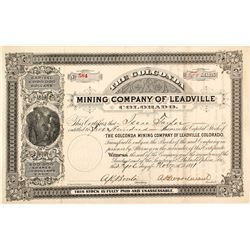 The Golconda Mining Co. of Leadville, Colorado Stock Certificate, 1881