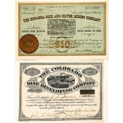 Two Different Leadville, Colorado Mining Stock Certificates